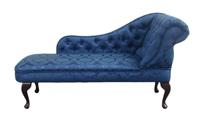 Chaise longue in luxurious colour fabrics buttoned for Black damask chaise longue
