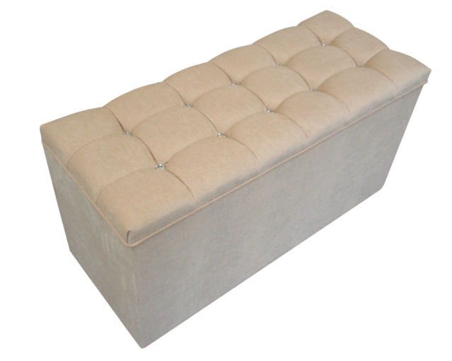 Ottomans Deacon Beige Upholstered Blanket Box: OTTOMAN//STORAGE BOX IN LUXURIOUS
