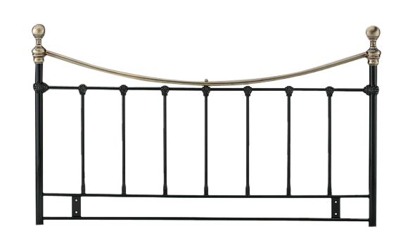 Metal Kingsize Headboard in Black Finish with Antique Brassed