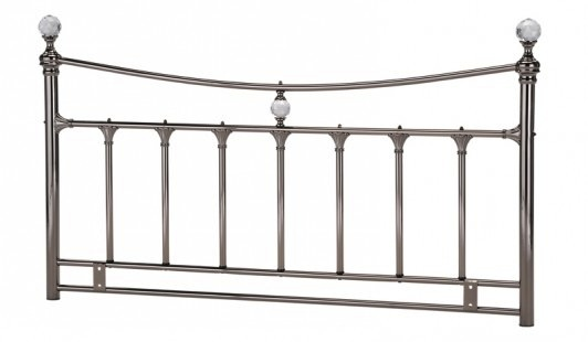 Metal Double Headboard Black Nickel (Smoked Chrome) finish crystals