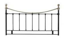 Metal Double Headboard in Black Finish with Antique Brassed